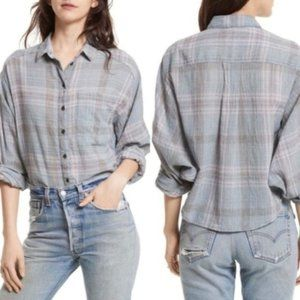Free People Cutie Plaid Button Down Shirt in blue